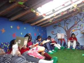 Children practicing their reading skills