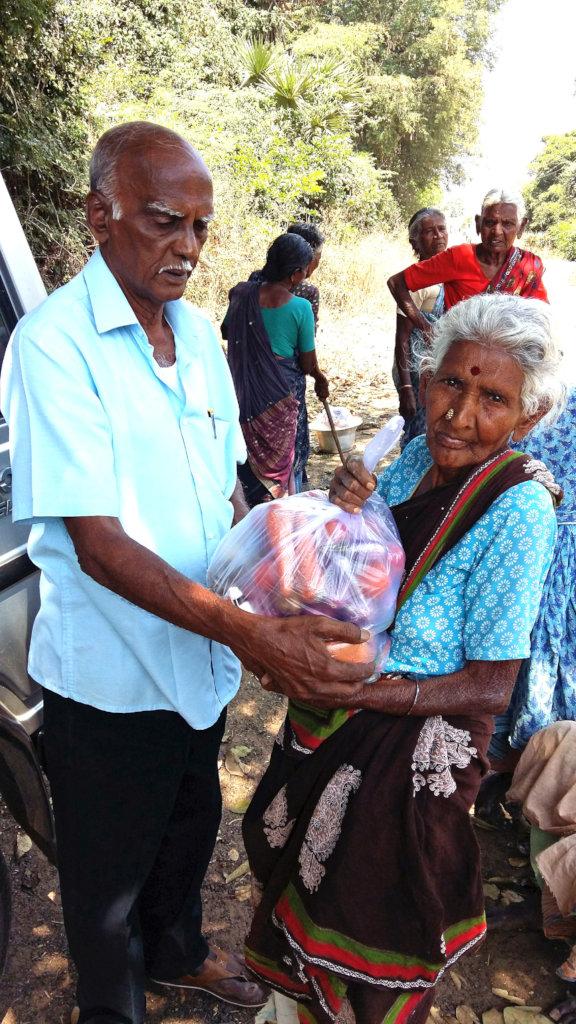 Monthly groceries to 78 neglected elder women