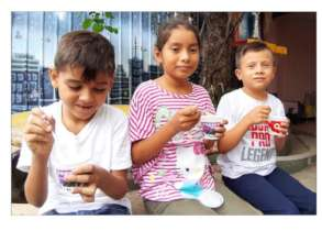 kids with Nutritional Yogurt