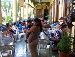 Mother and child in the clinic plaza