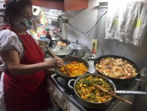 Blanca cooking healthy meal from virtual class