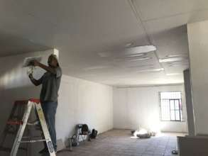 Drop ceiling being installed