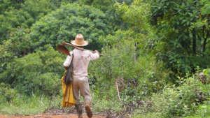 Family farmer going to work