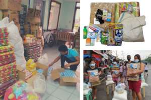 Repacking of relief goods for affected families