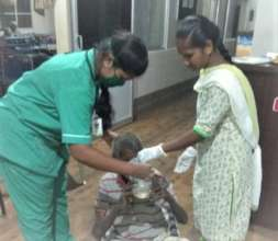 Mr. Ramasamy being attended to at the center