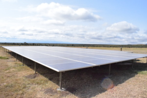 Close up of the solar panels at the borehole