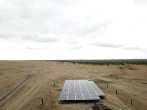 Solar panels installed at the borehole site
