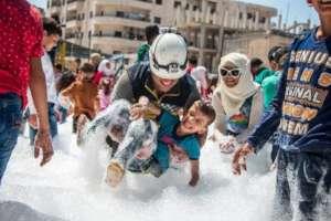 White Helmets Training at a Kid Friendly Zone