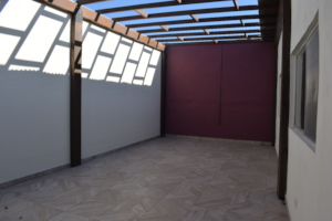The semi-roofed space is almost ready to be used!