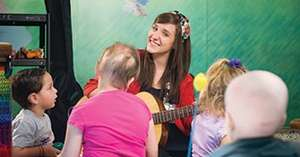 Music Therapist Amy holds a session with patients