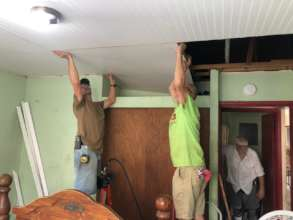 New roofs mean new ceilings! These volunteers rock