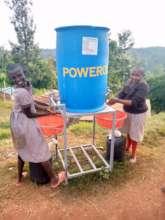 Learners at Kirunguru washing their hands