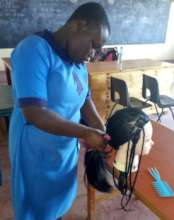 Lilian practicing braiding