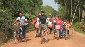 Bicycle practice with one of our great volunteers!