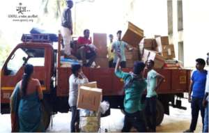 Truck load of relief material being dispatched