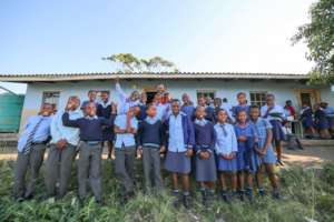 Sandile and his grade 4 and 5 class!