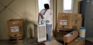 Installing air conditioners at Tenno Megumi