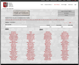 The new Wall of Tribute landing page