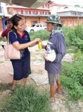 Receiving food and dishwahing liquid