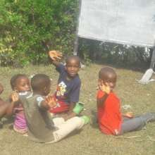 Happy kids in summer school pod