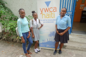 Cristelle and her friends at the YWCA Haiti center