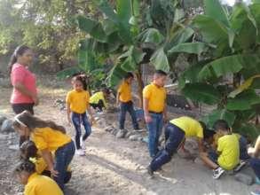 Students working in School Garden