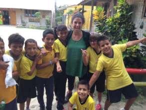 Fifth graders with School Psychologist Nazaret