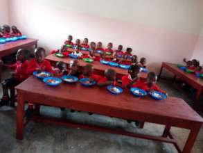 Students Eating Lunch in a New Classroom