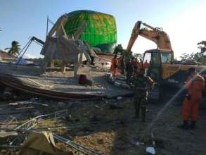 Collapsed mosque in North Lombok after the quake
