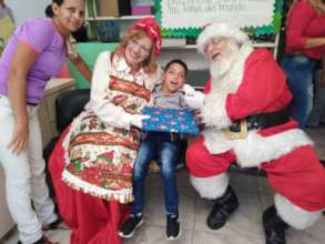 At the Christmas event with Santa and Ms. Claus