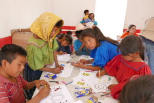Children working with color