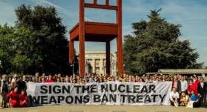 ICAN Campaigners at Broken Chair UN, Geneva