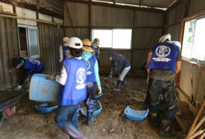 Volunteers doing mud on the workplace