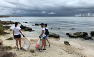 Beach cleanup during the World Clean Up Day Effort