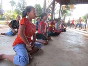 Learning Khmer dance SCC school Siem Reap.