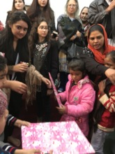 Gift distribution in churches on Christmas