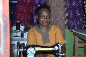 With her brand new sewing machine