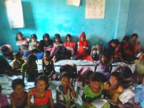 Girl Students in Community Learning Center