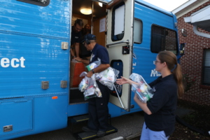 Distributing hygiene and wound-care kits