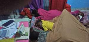 Displaced families on the run