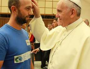 Matthew McVarish is blessed by the Pope, Aug. 20,