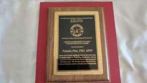 Pamela's Award Plaque