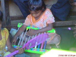 Rupali playing with slate