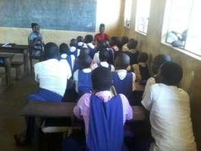 Girls under Psychosocial session in school