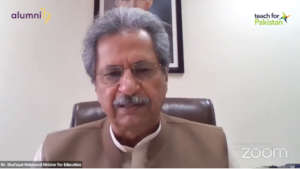 Shafqat Mahmood speaking at the Ceremony