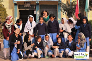 Maheen with her students before school closure