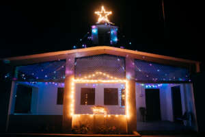 Twinkling lights set up at the church
