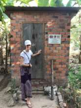 Reviewing newly reconstructed latrine