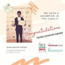 Sean winning the Pride of Abu Dhabi award!