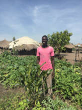 In his vegetable garden, a refugee with a tree